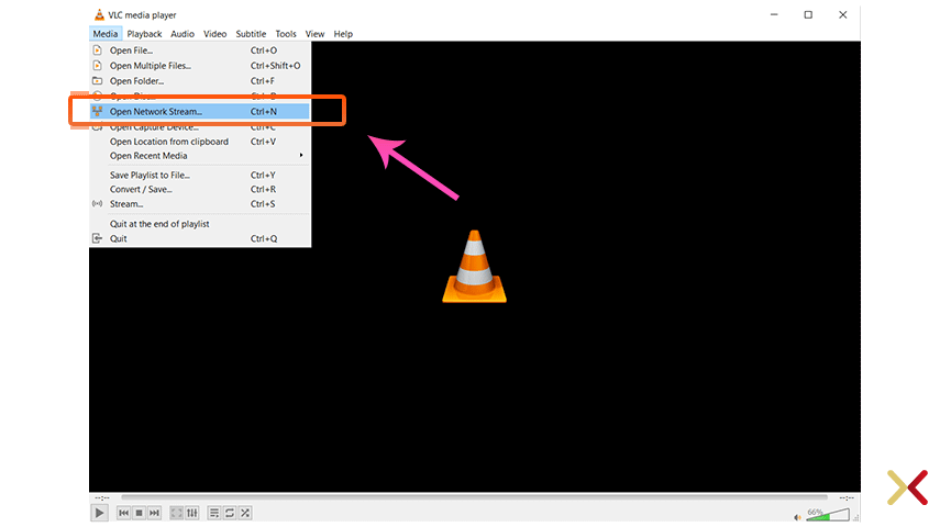 Open Network Stream on VLC