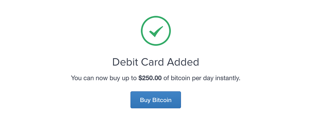 Confirmation of credit card to Coinbase